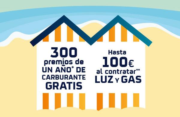 Hasta 100€ al contratar luz y gas y 300 premios de un año de carburante gratis